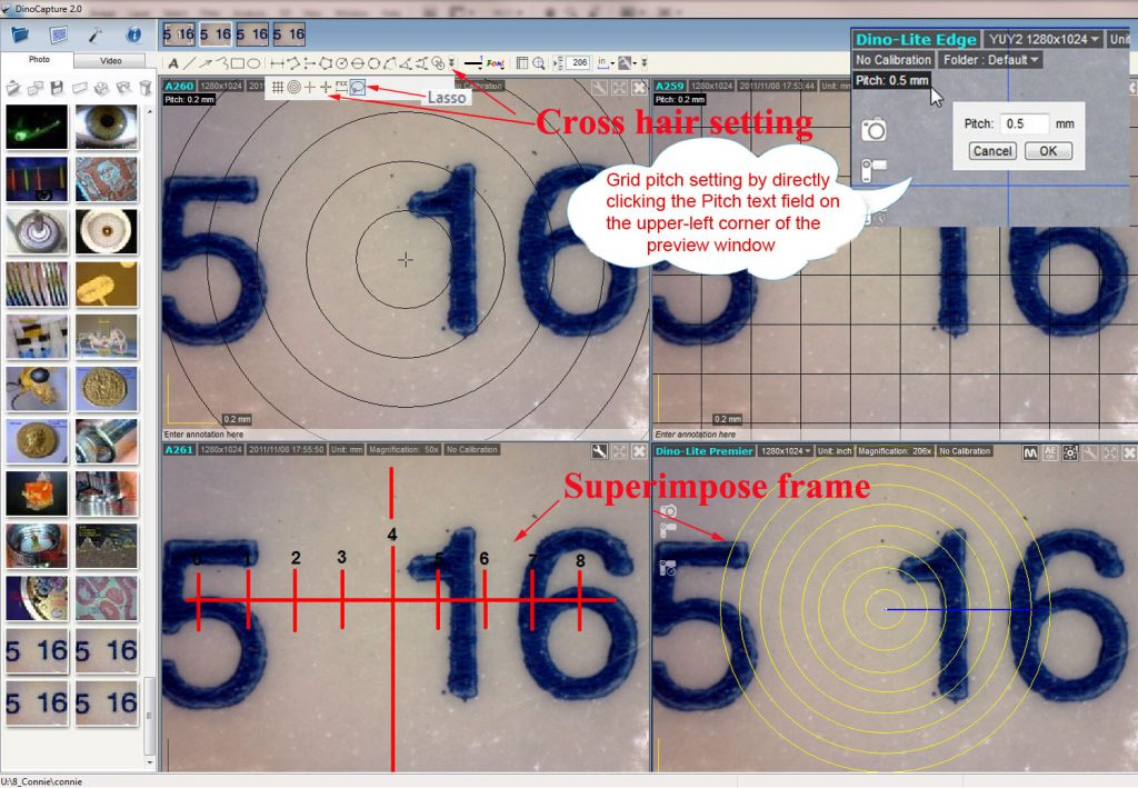 Examples of crosshairs and reticles on USB Digital Microscope
